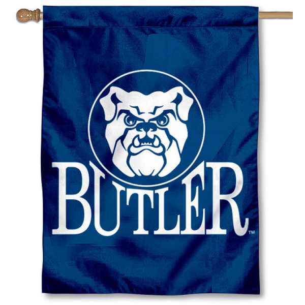 Butler University House Flag is a vertical house flag which measures 30x40 inches, is made of 2 ply 100% polyester, offers dye sublimated Butler Bulldogs team insignias, and has a top pole sleeve to hang vertically. Our Butler University House Flag is officially licensed by the selected university and the NCAA.