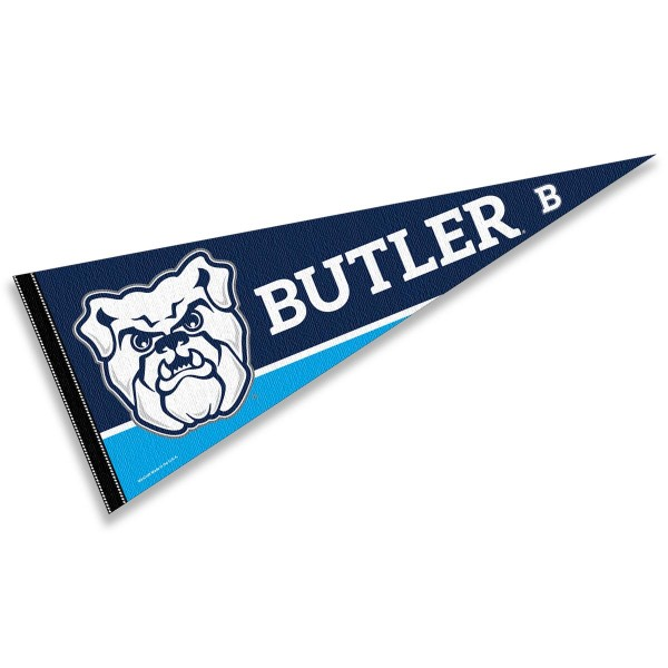 Butler University Pennant consists of our full size sports pennant which measures 12x30 inches, is constructed of felt, is single sided imprinted, and offers a pennant sleeve for insertion of a pennant stick, if desired. This Butler Bulldogs Pennant Decorations is Officially Licensed by the selected university and the NCAA.