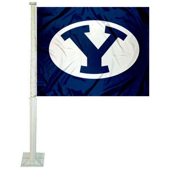 BYU Cougars Car Window Flag measures 12x15 inches, is constructed of sturdy 2 ply polyester, and has screen printed school logos which are readable and viewable correctly on both sides. BYU Cougars Car Window Flag is officially licensed by the NCAA and selected university.
