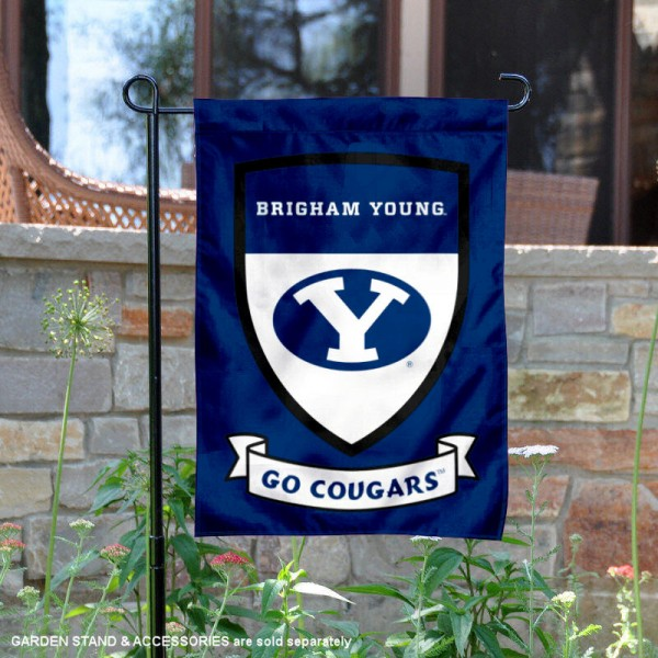 BYU Cougars Go Cougars Shield Garden Flag is 13x18 inches in size, is made of thick blockout polyester, screen printed university athletic logos and lettering, and is readable and viewable correctly on both sides. Available same day shipping, our BYU Cougars Go Cougars Shield Garden Flag is officially licensed and approved by the university and the NCAA.