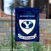 BYU Cougars Go Cougars Shield Garden Flag