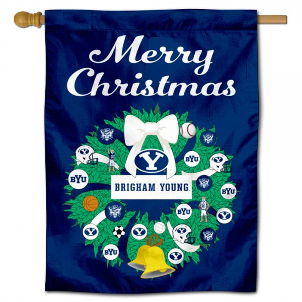 BYU Cougars Happy Holidays Banner Flag measures 30x40 inches, is made of poly, has a top hanging sleeve, and offers dye sublimated BYU Cougars logos. This Decorative BYU Cougars Happy Holidays Banner Flag is officially licensed by the NCAA.
