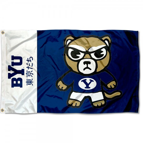BYU Cougars Kawaii Tokyo Dachi Yuru Kyara Flag measures 3x5 feet, is made of 100% polyester, offers quadruple stitched flyends, has two metal grommets, and offers screen printed NCAA team logos and insignias. Our BYU Cougars Kawaii Tokyo Dachi Yuru Kyara Flag is officially licensed by the selected university and NCAA.