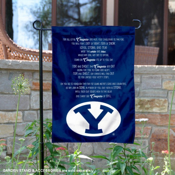 BYU Cougars The Cougar Song Garden Flag is 13x18 inches in size, is made of 2-layer polyester, screen printed university athletic logos and lettering, and is readable and viewable correctly on both sides. Available same day shipping, our BYU Cougars The Cougar Song Garden Flag is officially licensed and approved by the university and the NCAA.