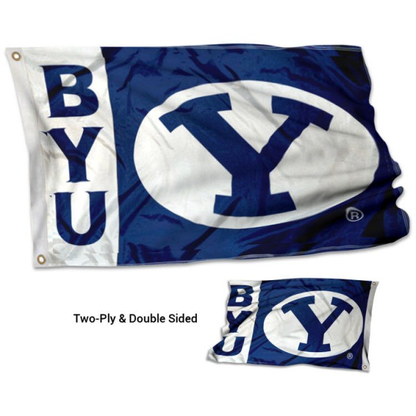 BYU Double Sided 3x5 Flag measures 3'x5', is made of 2 layer 100% polyester, has quadruple stitched flyends for durability, and is readable correctly on both sides. Our BYU Double Sided 3x5 Flag is officially licensed by the university, school, and the NCAA.