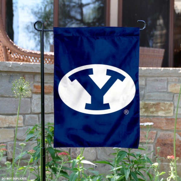 BYU Oval Logo Garden Flag is 13x18 inches in size, is made of 2-layer polyester, screen printed BYU Oval athletic logos and lettering. Available with Same Day Express Shipping, Our BYU Oval Logo Garden Flag is officially licensed and approved by BYU Oval and the NCAA.