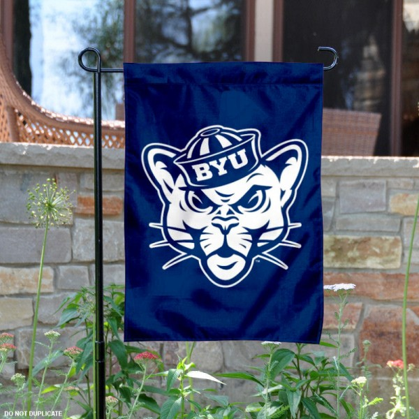 BYU Vintage Cougar Logo Garden Flag is 13x18 inches in size, is made of 2-layer polyester, screen printed BYU Vintage Cougar athletic logos and lettering. Available with Same Day Express Shipping, Our BYU Vintage Cougar Logo Garden Flag is officially licensed and approved by BYU Vintage Cougar and the NCAA.