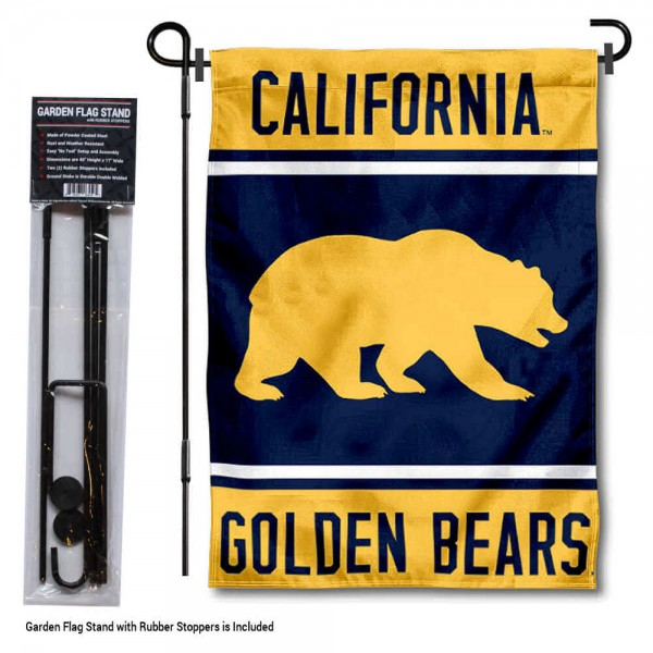 "Cal Bears Garden Flag and Pole Stand Holder kit includes our 13""x18"" garden banner which is made of 2 ply poly with liner and has screen printed licensed logos. Also, a 40""x17"" inch garden flag stand is included so your Cal Bears Garden Flag and Pole Stand Holder is ready to be displayed with no tools needed for setup. Fast Overnight Shipping is offered and the flag is Officially Licensed and Approved by the selected team."
