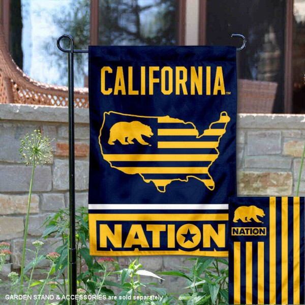 Cal Bears Garden Flag with USA Country Stars and Stripes is 13x18 inches in size, is made of 2-layer polyester, screen printed logos and lettering. Available with Same Day Express Shipping, Our Nation Yard Flag is officially licensed and approved by the NCAA.