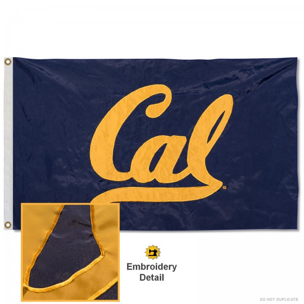 Cal Bears Nylon Embroidered Flag measures 3'x5', is made of 100% nylon, has quadruple flyends, two metal grommets, and has double sided appliqued and embroidered University logos. These Cal Bears 3x5 Flags are officially licensed by the selected university and the NCAA.