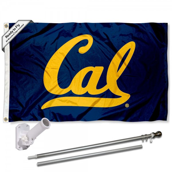 Our Cal Berkeley Bears Flag Pole and Bracket Kit includes the flag as shown and the recommended flagpole and flag bracket. The flag is made of nylon, has quad-stitched flyends, and the NCAA Licensed team logos are double sided screen printed. The flagpole and bracket are made of rust proof aluminum and includes all hardware so this kit is ready to install and fly.