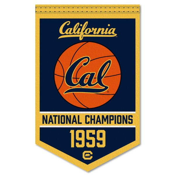 Cal Berkeley Golden Bears Basketball National Champions Banner consists of our sports dynasty year banner which measures 15x24 inches, is constructed of rigid felt, is single sided imprinted, and offers a pennant sleeve for insertion of a pennant stick, if desired. This sports banner is a unique collectible and keepsake of the legacy game and is Officially Licensed and University, School, and College Approved.