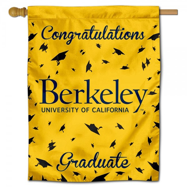Cal Berkeley Golden Bears Congratulations Graduate Flag measures 30x40 inches, is made of poly, has a top hanging sleeve, and offers dye sublimated Cal Berkeley Golden Bears logos. This Decorative Cal Berkeley Golden Bears Congratulations Graduate House Flag is officially licensed by the NCAA.
