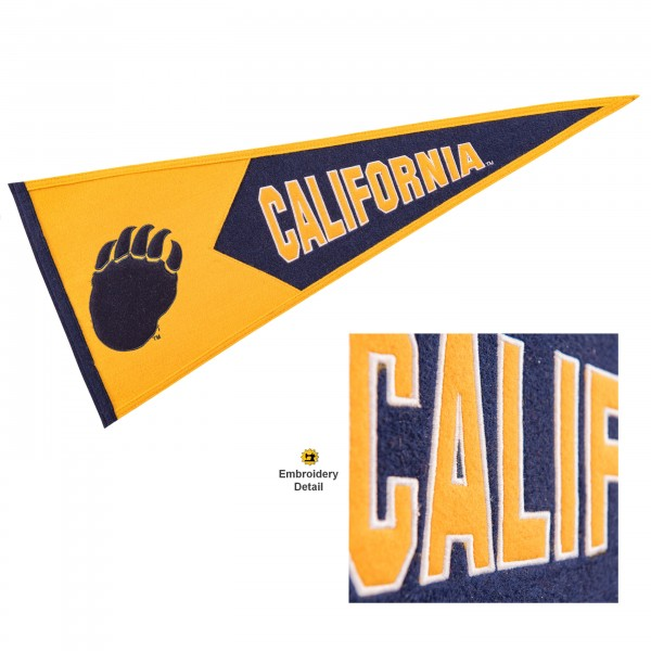 Cal Berkeley Golden Bears Genuine Wool Pennant consists of our full size 13x32 inch Winning Streak Sports wool college pennant. The logos, lettering and insignia is quality embroidered and appliqued, feature a alternate logo color header, and has sewn wool perimeter. This Cal Berkeley Golden Bears College Pennant Pennant is Officially Licensed and University Approved with Overnight Next Day Shipping.