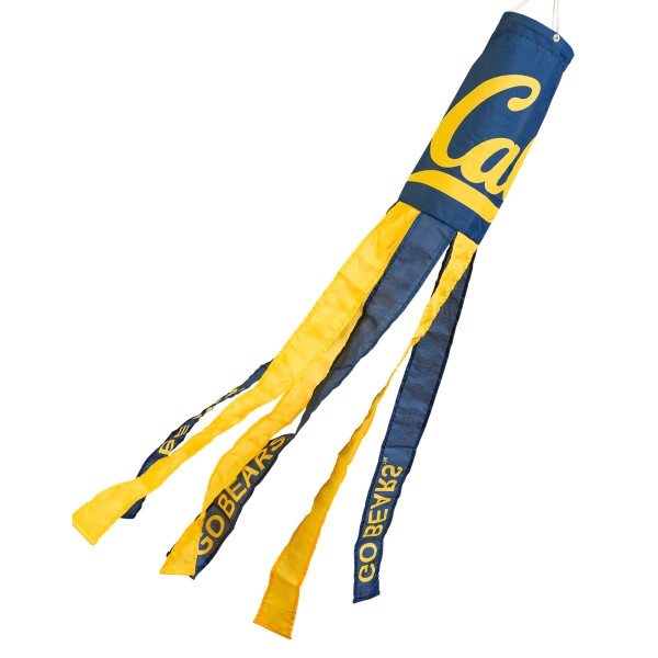 "Cal Berkeley Golden Bears Windsock measures 40"" in length by 5"" in width, is made of 100% polyester, offers screen printed NCAA team logos, team names and insignias, has 6 alternative colored streamers and tails, includes a double stringed bridle and hanging swivel clip, and our Cal Berkeley Golden Bears Windsock is authentic, licensed, and approved by the selected university or team."
