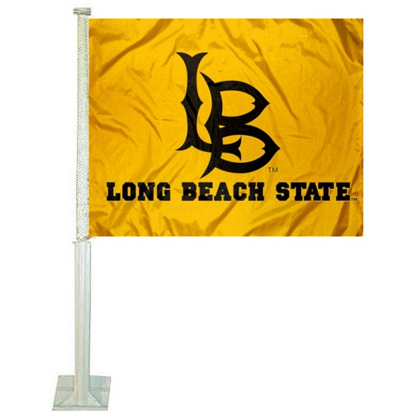 Cal Long Beach 49ers Car Window Flag measures 12x15 inches, is constructed of sturdy 2 ply polyester, and has dye sublimated school logos which are readable and viewable correctly on both sides. Cal Long Beach 49ers Car Window Flag is officially licensed by the NCAA and selected university.