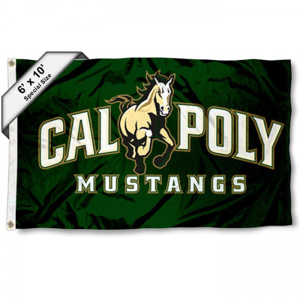 Cal Poly 6'x10' Flag measures 6x10 feet, is made of thick poly, has quadruple-stitched fly ends, and Cal Poly Mustangs logos are screen printed into the Cal Poly Mustangs 6'x10' Flag. This 6'x10' Flag is officially licensed by and the NCAA.