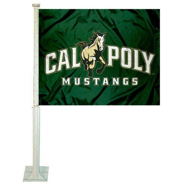 Cal Poly Car Window Flag measures 12x15 inches, is constructed of sturdy 2 ply polyester, and has dye sublimated school logos which are readable and viewable correctly on both sides. Cal Poly Car Window Flag is officially licensed by the NCAA and selected university.