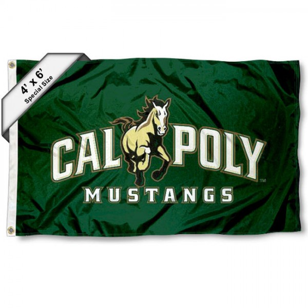 Cal Poly Large 4x6 Flag measures 4x6 feet, is made thick woven polyester, has quadruple stitched flyends, two metal grommets, and offers screen printed NCAA Cal Poly Large athletic logos and insignias. Our Cal Poly Large 4x6 Flag is officially licensed by Cal Poly and the NCAA.