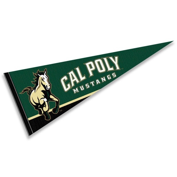 Cal Poly Mustangs Decorations consists of our full size pennant which measures 12x30 inches, is constructed of felt, is single sided imprinted, and offers a pennant sleeve for insertion of a pennant stick, if desired. This Cal Poly Mustangs Decorations is officially licensed by the selected university and the NCAA.