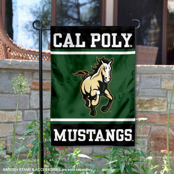 Cal Poly Mustangs Garden Flag is 13x18 inches in size, is made of 2-layer polyester, screen printed logos and lettering. Available with Same Day Express Shipping, Our Cal Poly Mustangs Garden Flag is officially licensed and approved by the NCAA.