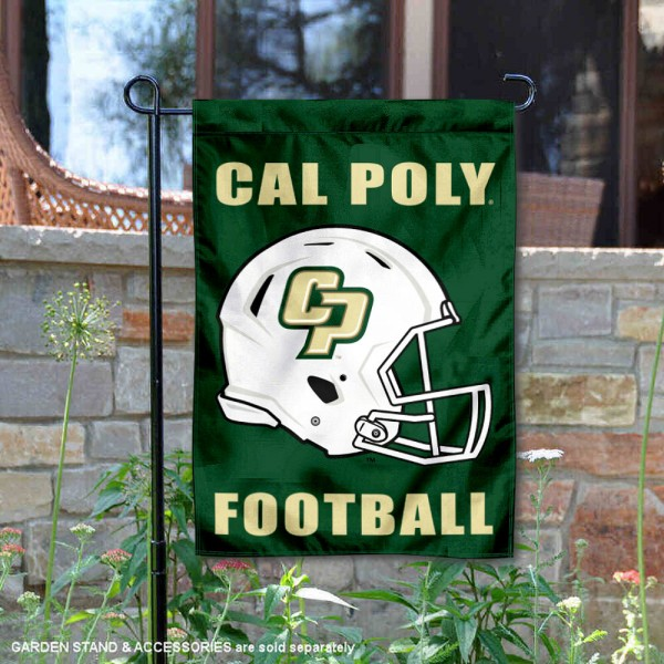 Cal Poly Mustangs Helmet Yard Garden Flag is 13x18 inches in size, is made of 2-layer polyester with Liner, screen printed university athletic logos and lettering, and is readable and viewable correctly on both sides. Available same day shipping, our Cal Poly Mustangs Helmet Yard Garden Flag is officially licensed and approved by the university and the NCAA.