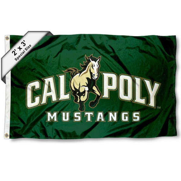 Cal Poly Mustangs Small 2'x3' Flag measures 2x3 feet, is made of 100% polyester, offers quadruple stitched flyends, has two brass grommets, and offers printed Cal Poly Mustangs logos, letters, and insignias. Our 2x3 foot flag is Officially Licensed by the selected university.