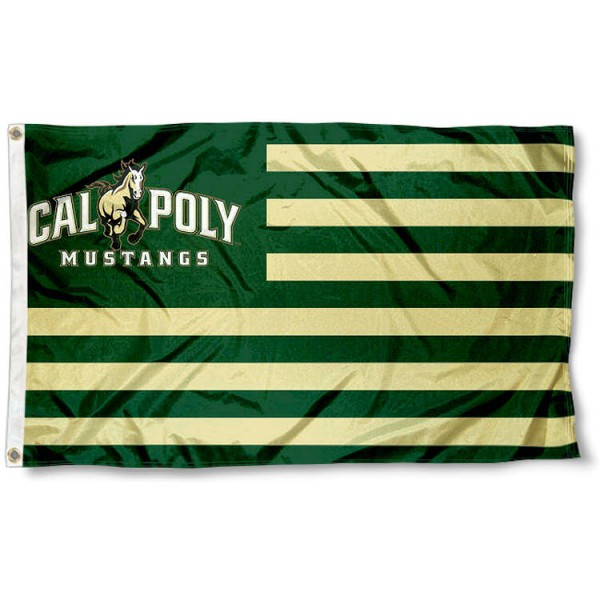 Cal Poly Mustangs Stripes Flag measures 3'x5', is made of polyester, offers double stitched flyends for durability, has two metal grommets, and is viewable from both sides with a reverse image on the opposite side. Our Cal Poly Mustangs Stripes Flag is officially licensed by the selected school university and the NCAA.