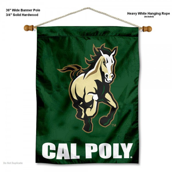 "Cal Poly Mustangs Wall Banner is constructed of polyester material, measures a large 30""x40"", offers screen printed athletic logos, and includes a sturdy 3/4"" diameter and 36"" wide banner pole and hanging cord. Our Cal Poly Mustangs Wall Banner is Officially Licensed by the selected college and NCAA."