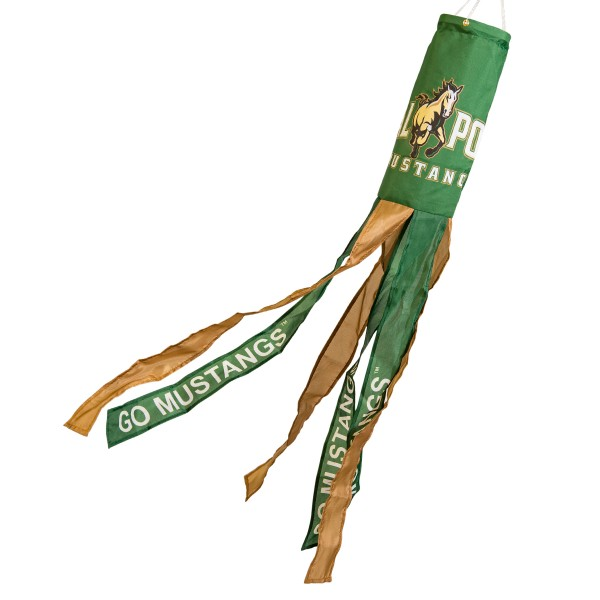 "Cal Poly Mustangs Windsock measures 40"" in length by 5"" in width, is made of 100% polyester, offers screen printed NCAA team logos, team names and insignias, has 6 alternative colored streamers and tails, includes a double stringed bridle and hanging swivel clip, and our Cal Poly Mustangs Windsock is authentic, licensed, and approved by the selected university or team."
