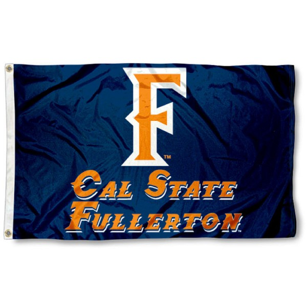 This Cal State Fullerton Flag measures 3'x5', is made of 100% nylon, has quad-stitched sewn flyends, and has two-sided Cal State University printed logos. Our Cal State Fullerton Flag is officially licensed and all flags for Cal State Fullerton are approved by the NCAA and Same Day UPS Express Shipping is available.