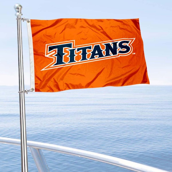 Cal State Fullerton Titans Boat and Mini Flag is 12x18 inches, polyester, offers quadruple stitched flyends for durability, has two metal grommets, and is double sided. Our mini flags for California State University Fullerton are licensed by the university and NCAA and can be used as a boat flag, motorcycle flag, golf cart flag, or ATV flag.
