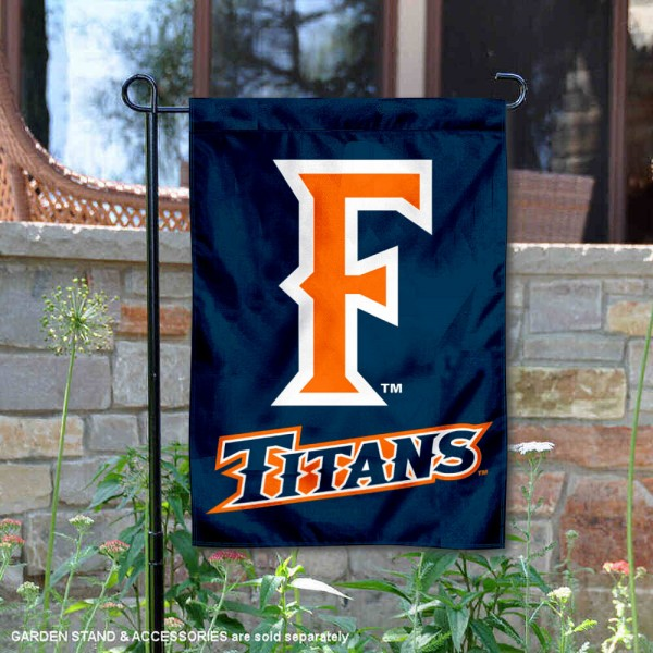 Cal State Fullerton Titans F Logo Garden Flag is 13x18 inches in size, is made of 2-layer polyester, screen printed university athletic logos and lettering, and is readable and viewable correctly on both sides. Available same day shipping, our Cal State Fullerton Titans F Logo Garden Flag is officially licensed and approved by the university and the NCAA.