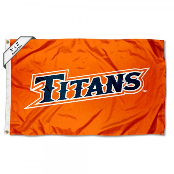 Cal State Fullerton Titans Small 2'x3' Flag measures 2x3 feet, is made of 100% polyester, offers quadruple stitched flyends, has two brass grommets, and offers printed Cal State Fullerton Titans logos, letters, and insignias. Our 2x3 foot flag is Officially Licensed by the selected university.