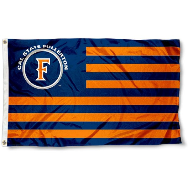 Cal State Fullerton Titans Stripes Flag measures 3'x5', is made of polyester, offers double stitched flyends for durability, has two metal grommets, and is viewable from both sides with a reverse image on the opposite side. Our Cal State Fullerton Titans Stripes Flag is officially licensed by the selected school university and the NCAA.