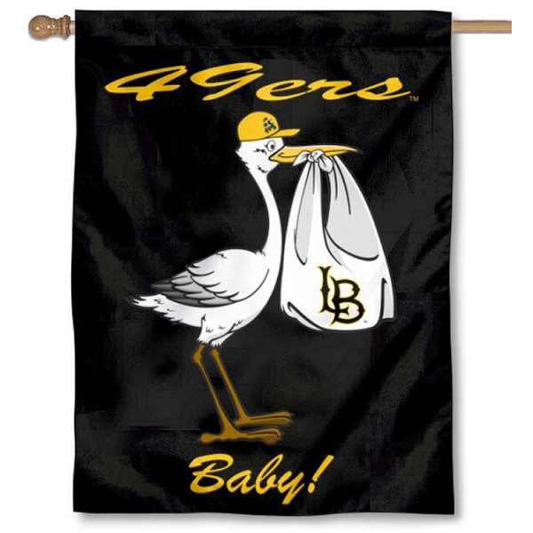 Cal State Long Beach 49ers New Baby Flag measures 30x40 inches, is made of poly, has a top hanging sleeve, and offers dye sublimated Cal State Long Beach 49ers logos. This Decorative Cal State Long Beach 49ers New Baby House Flag is officially licensed by the NCAA.