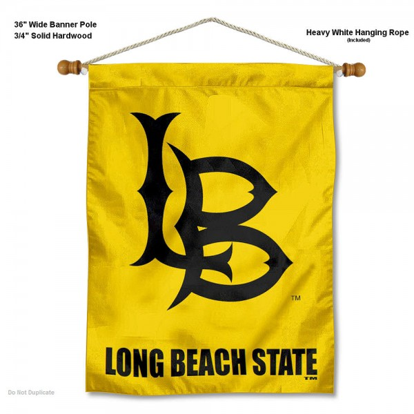 """Cal State Long Beach 49ers Wall Banner is constructed of polyester material, measures a large 30""""x40"""", offers screen printed athletic logos, and includes a sturdy 3/4"""" diameter and 36"""" wide banner pole and hanging cord. Our Cal State Long Beach 49ers Wall Banner is Officially Licensed by the selected college and NCAA."""