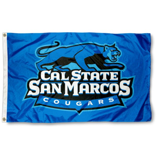 Cal State San Marcos Cougars Flag is made of 100% nylon, offers quad stitched flyends, measures 3x5 feet, has two metal grommets, and is viewable from both side with the opposite side being a reverse image. Our Cal State San Marcos Cougars Flag is officially licensed by the selected college and NCAA