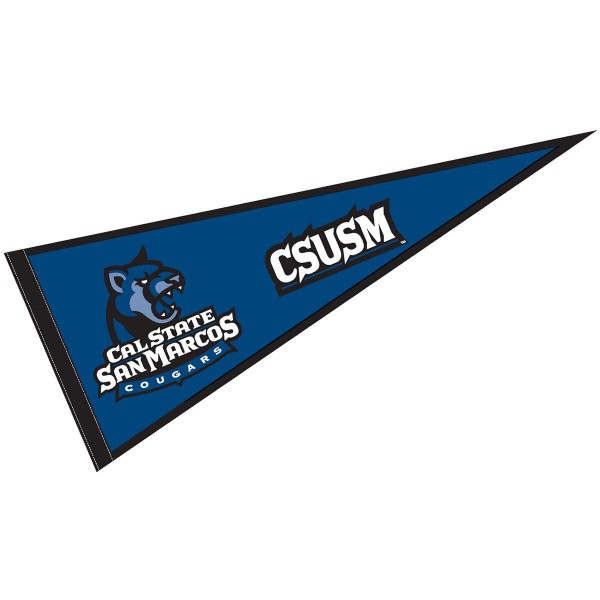 Cal State San Marcos Cougars Pennant measures a full size 12x30 inches, is constructed of felt, is single sided imprinted, and offers a pennant sleeve for insertion of a pennant stick, if desired. This Cal State San Marcos Cougars Pennant is officially licensed by the selected university and the NCAA.
