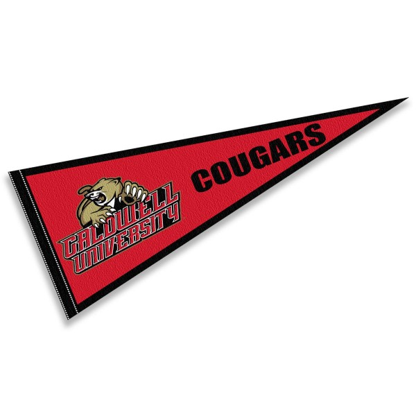 Caldwell Cougars Pennant consists of our full size sports pennant which measures 12x30 inches, is constructed of felt, is single sided imprinted, and offers a pennant sleeve for insertion of a pennant stick, if desired. This Caldwell Cougars Pennant Decorations is Officially Licensed by the selected university and the NCAA.