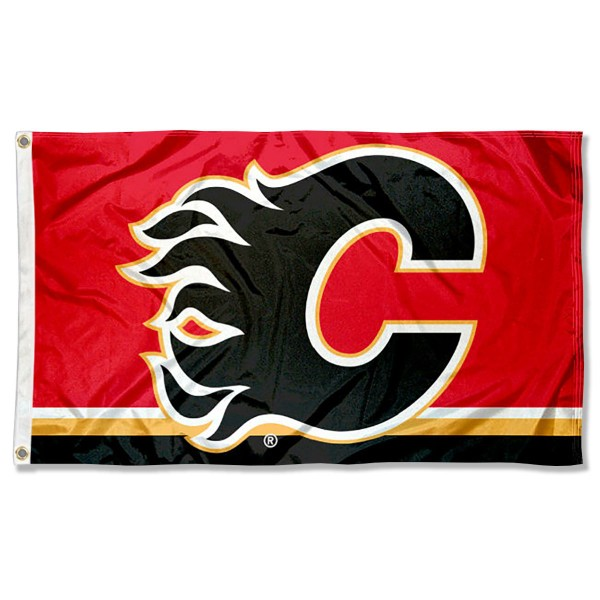 The Calgary Flames Flag is four-stitched bordered, double sided, made of poly, 3'x5', and has two grommets. These Calgary Flames Flags are NHL Genuine Merchandise.