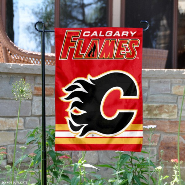 Calgary Flames Garden Flag is 12.5x18 inches in size, is made of 2-ply polyester, and has two sided screen printed logos and lettering. Available with Express Next Day Ship, our Calgary Flames Garden Flag is NHL Officially Licensed and is double sided.