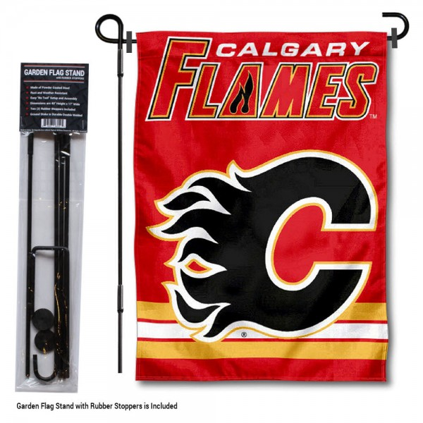 Calgary Flames Garden Flag and Flagpole Stand