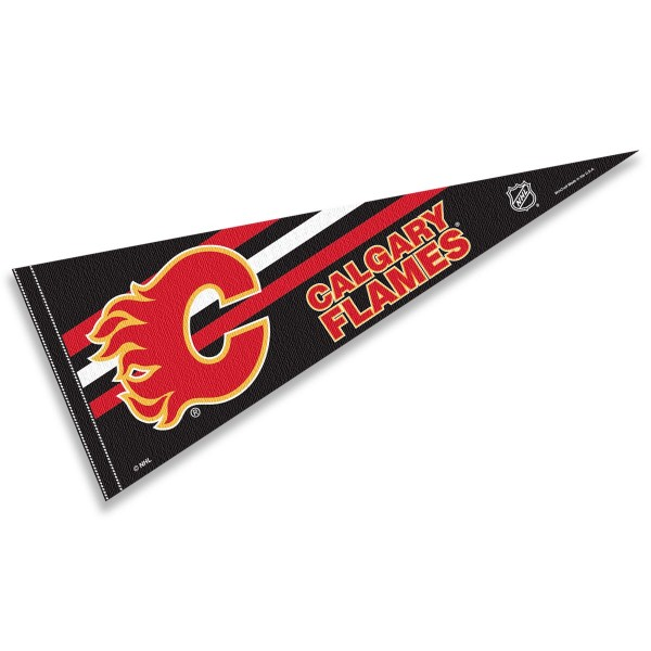 Calgary Flames NHL Pennant is our full size 12x30 inch pennant which is made of felt, is single sided screen printed, and is perfect for decorating at home or office. Display your NHL hockey allegiance with this NHL Genuine Merchandise item.