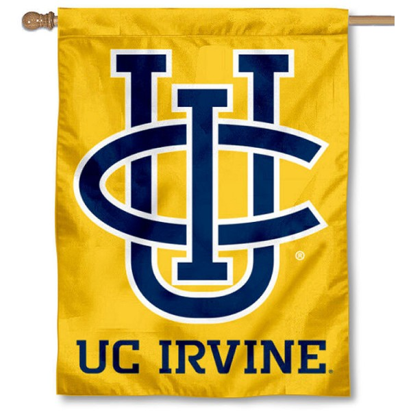 California Irvine Eaters Gold House Flag is a vertical house flag which measures 30x40 inches, is made of 2 ply 100% polyester, offers screen printed NCAA team insignias, and has a top pole sleeve to hang vertically. Our California Irvine Eaters Gold House Flag is officially licensed by the selected university and the NCAA.