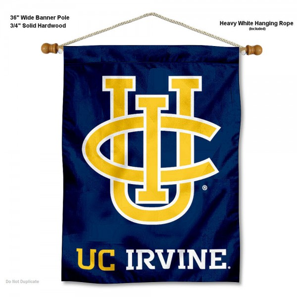 "California Irvine Eaters Wall Banner is constructed of polyester material, measures a large 30""x40"", offers screen printed athletic logos, and includes a sturdy 3/4"" diameter and 36"" wide banner pole and hanging cord. Our California Irvine Eaters Wall Banner is Officially Licensed by the selected college and NCAA."