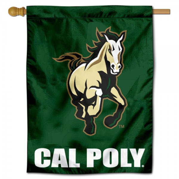 "California Polytechnic State House Flag is constructed of polyester material, is a vertical house flag, measures 30""x40"", offers screen printed athletic insignias, and has a top pole sleeve to hang vertically. Our California Polytechnic State House Flag is Officially Licensed by California Polytechnic State and NCAA."