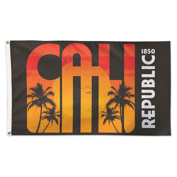 California Republic 1850 Flag measures 3'x5', is made of 100% poly, has quadruple stitched sewing, two metal grommets, and has double sided California Republic 1850 logos.