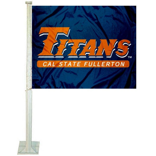 California State University Fullerton Car Window Flag measures 12x15 inches, is constructed of sturdy 2 ply polyester, and has dye sublimated school logos which are readable and viewable correctly on both sides. California State University Fullerton Car Window Flag is officially licensed by the NCAA and selected university.