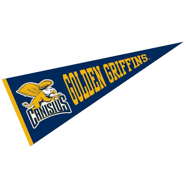 Canisius College Pennant measures 12x30 inches, is made of wool, and the School logos are printed with raised lettering. Our Canisius College Pennant is Officially Licensed and Approved by the University or Institution.